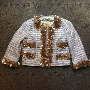 MARC JACOBS - Silk tweed Embellished Crop Blazer